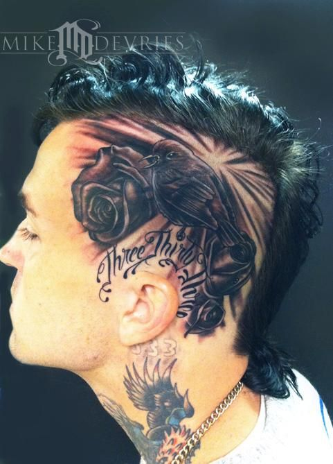 Mike Devries Tattoos Flower Rose Song Bird And Roses Weird Tattoos Head Tattoos Yelawolf Tattoos