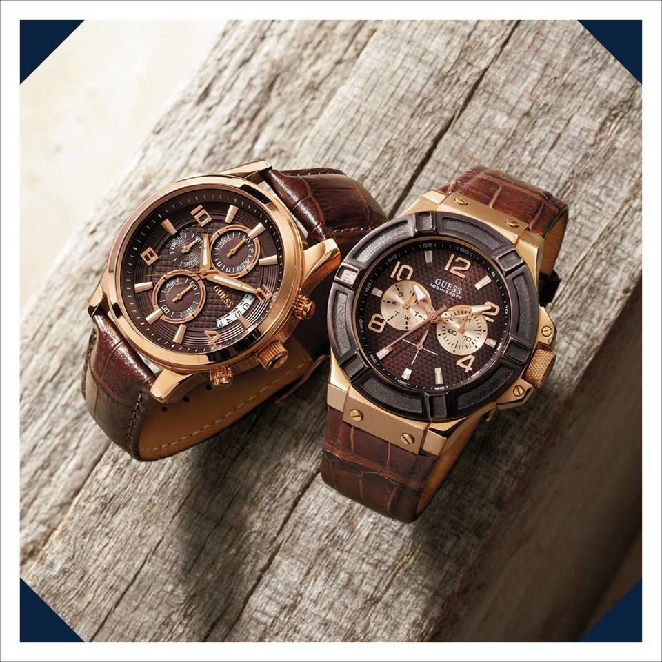guess mens watches as stylish as the ladies versions guess mens brown leather rose gold watches these are handsome and