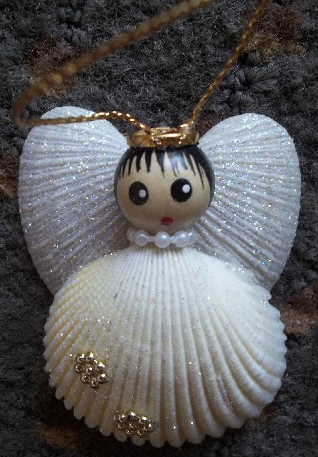 Nautical Sea Shell Angel Pecten Shell Beach Christmas Ornament Beach Christmas Ornaments Handmade Angels Christmas Seashell Crafts