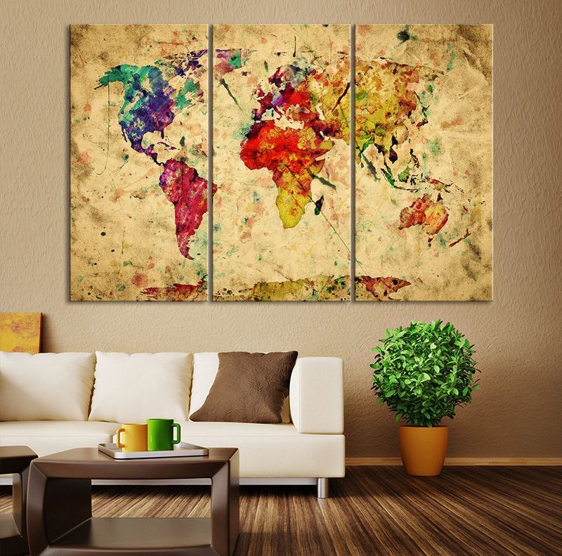 Yellow retro watercolor world map canvas print vintage 3 panel map yellow retro watercolor world map canvas print vintage 3 panel map art print great gumiabroncs Gallery