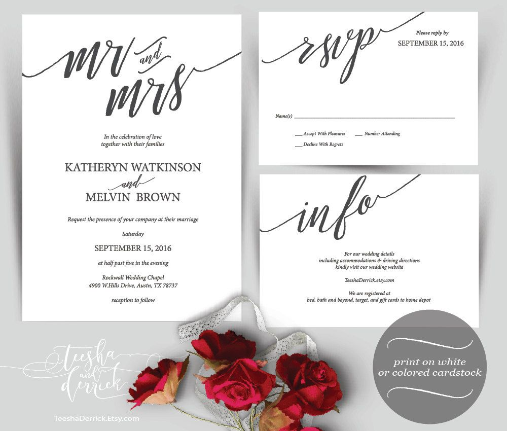 Mr and Mrs Typography Wedding Invitation Instant Download Printable ...