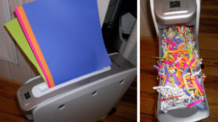 Make 'grass' for your Easter basket by putting colored paper through the shredder-so much better than the plastic stuff!