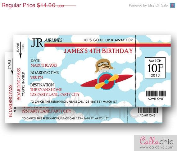 Airplane Ticket Invitation PRINTABLE - Boarding Pass Aeroplane Plane
