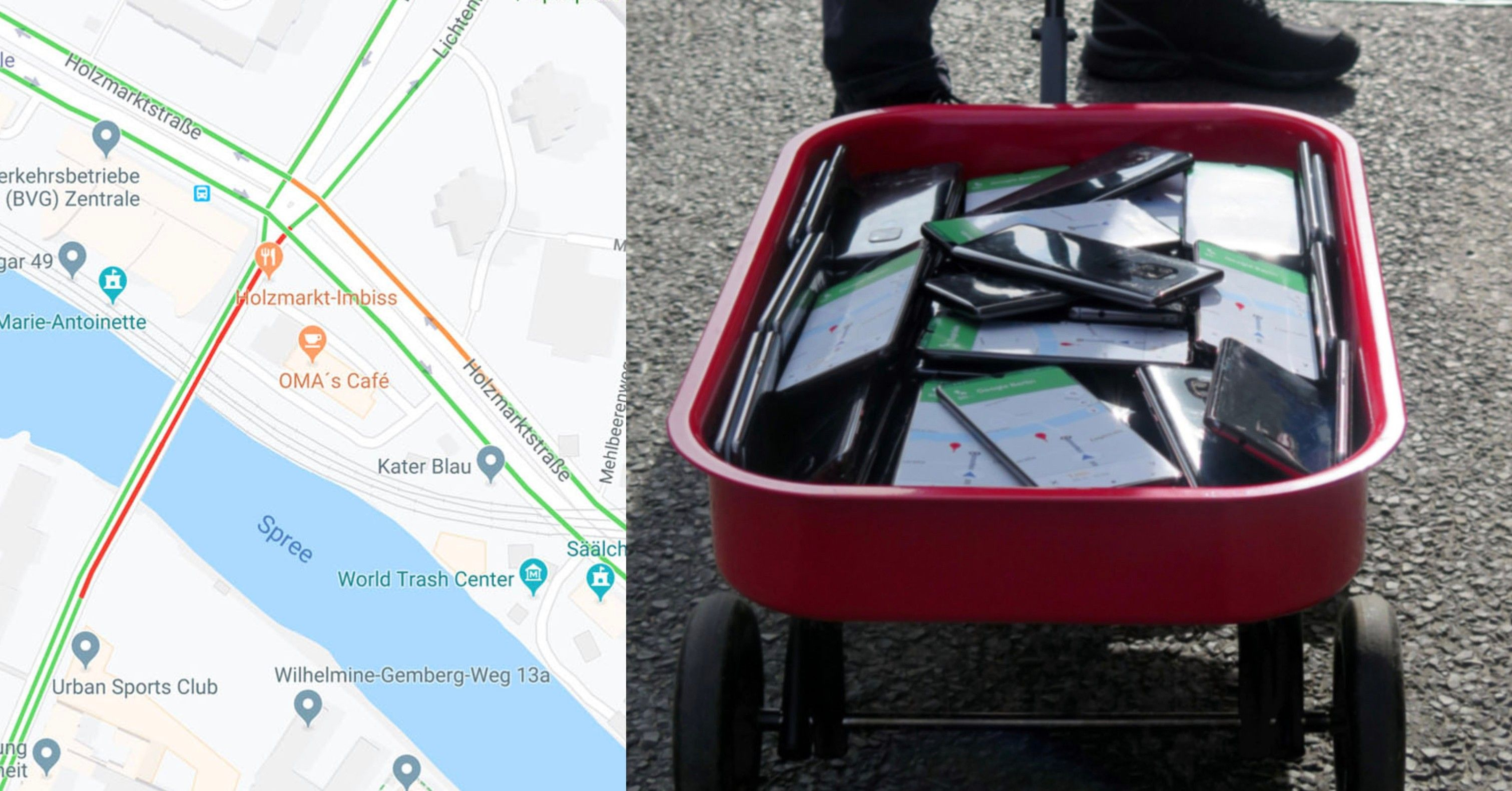 This Man Created Traffic Jams On Google Maps Using A Red Wagon Full Of Phones In 2020 Red Wagon Traffic Jam Traffic