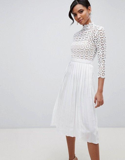 Little Mistress 3/4 Sleeve Lace Top Pleated Midi Dress | ASOS