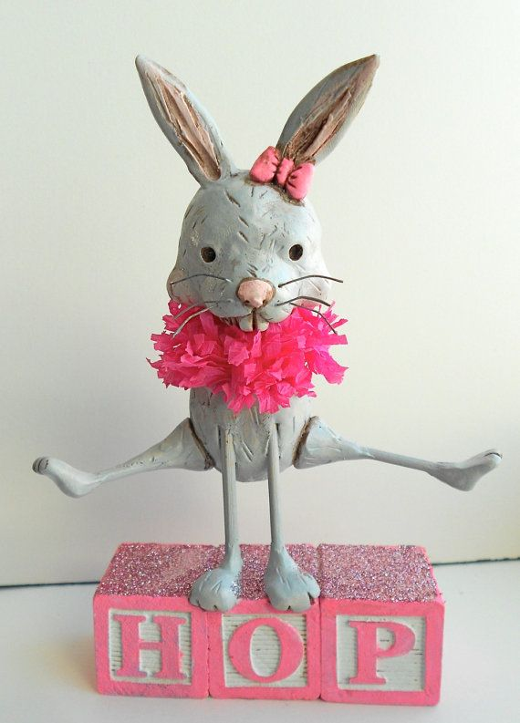 Hopping Bunny Folk Art Sculpture for Spring in Gray by indigotwin, $38.00