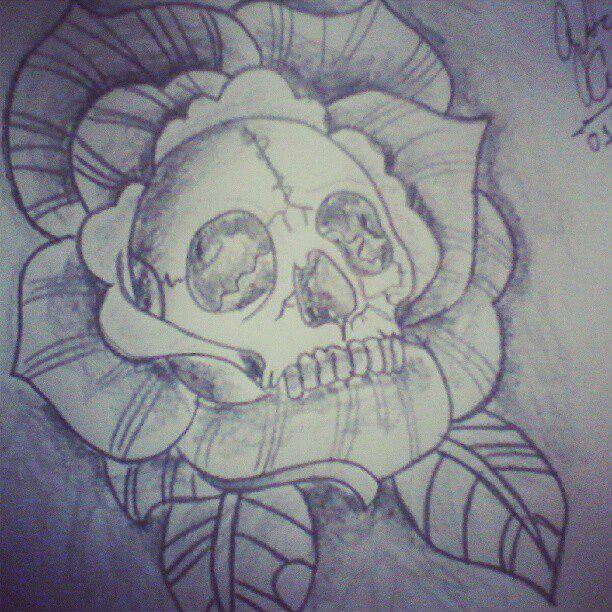 5cc906f1bc3de flower skull tattoo by gutonilda on DeviantArt | Tattoos | Skull ...