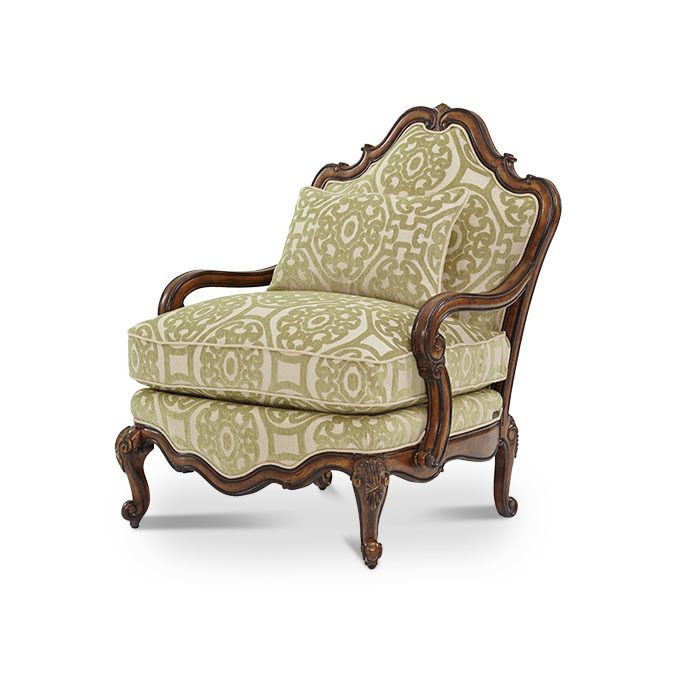 Wood Frame Melange Finish Patterned Fabric Arm Chair With