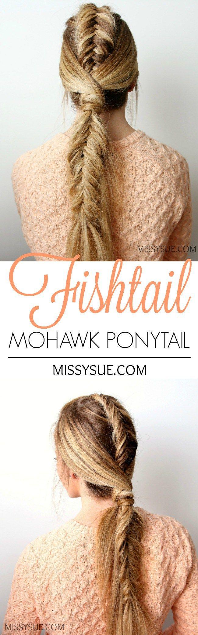 Fishtail mohawk ponytail pferde pinterest