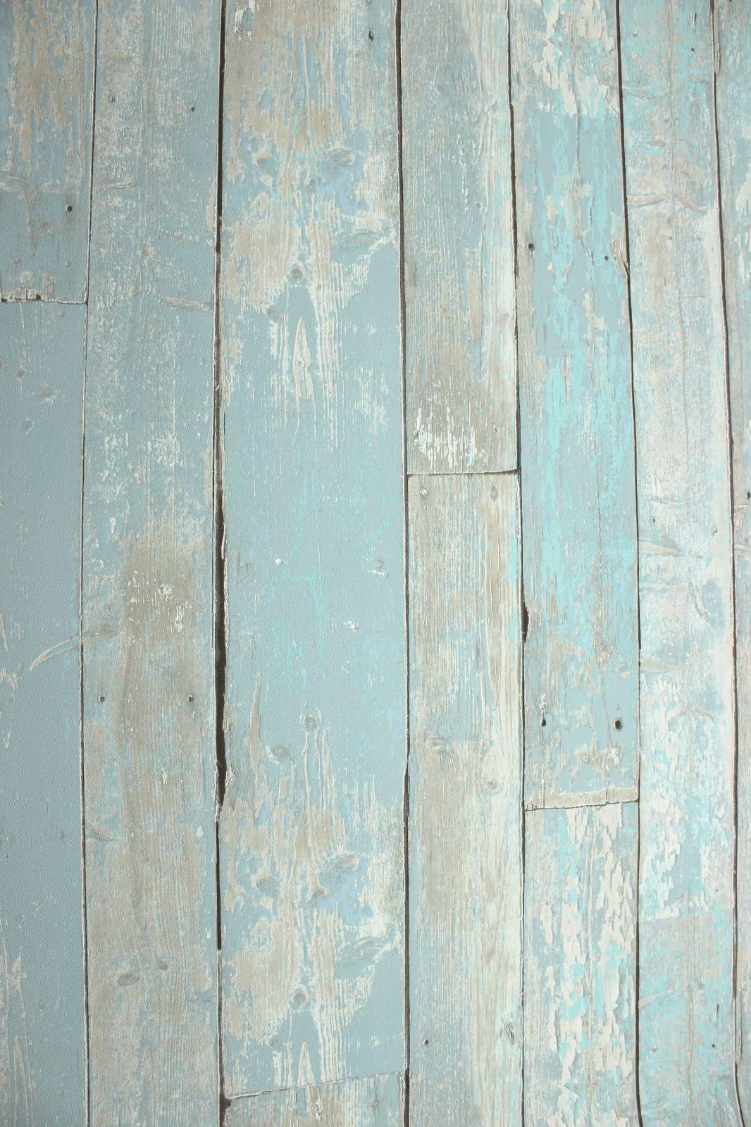 Vlies tapete antik holz rustikal blau t rkis beige bretter verwittert shabby - Tapete rustikal ...
