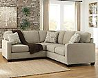The sleek mid-century lines of the Alenya 2-piece sectional are always in vogue. With neatly tailored box cushions and track arms, this microfiber upholstered ensemble is supremely comfortable and stylish. Tonal piping and a trio of accent pillows are touches of refinement.