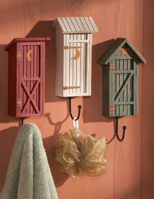 Outhouse Decor For Bathrooms Country Outhouse Bathroom Decorative Wall Hooks From Collections Etc Outhouse Bathroom Decor Outhouse Bathroom Outhouse Decor