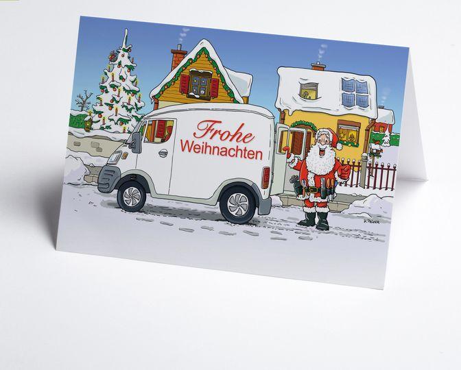 art nr 150411 a branchenkarte hausbau mit eindruck frohe weihnachten auf service fahrzeug. Black Bedroom Furniture Sets. Home Design Ideas