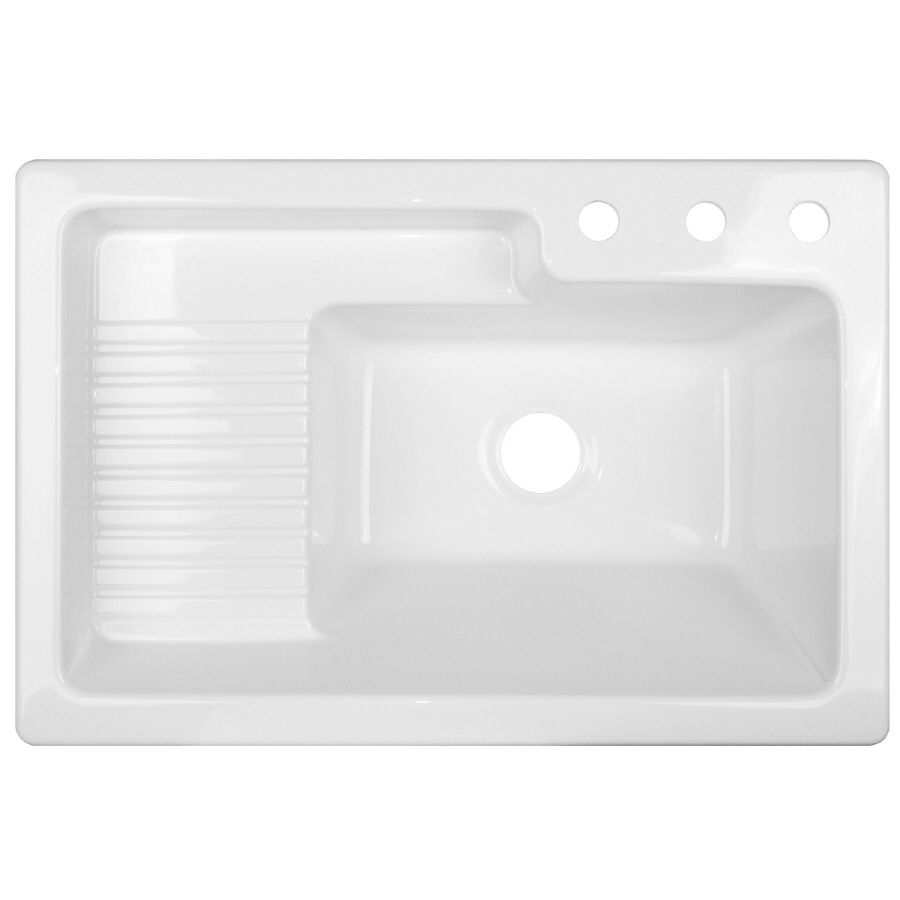 Shop CorStone White Acrylic SelfRimming Laundry Sink at Lowescom