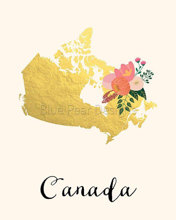 Canada Map Canada Art Canada Poster Canada by WhitespaceAndDaisy
