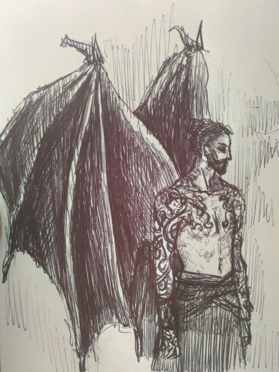 Saessenach Inktober Day 4 Cassian And His Wings For Reasons