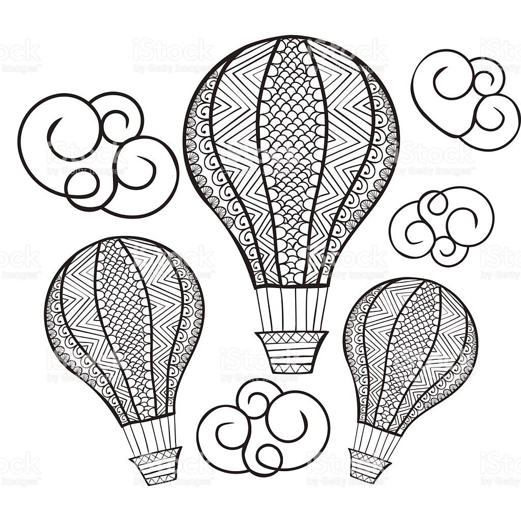 Vector doodle hand drawn hot air balloon illustration for coloring ...
