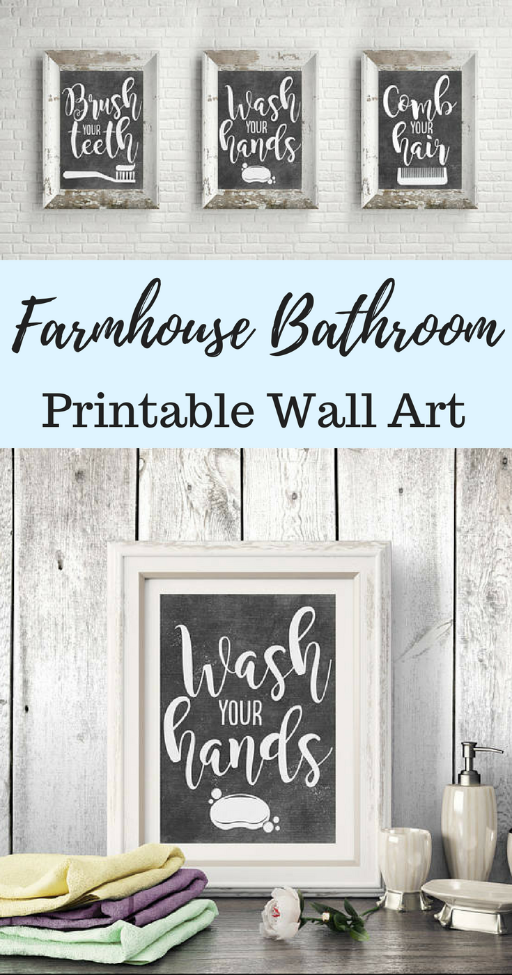 image relating to Printable Farmhouse Signs identify PRINTABLE Rest room Wall Decor - Lavatory Signs or symptoms - Chalkboard