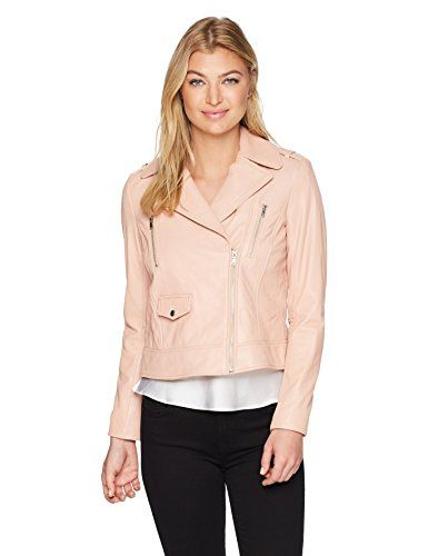 Cole Haan Womens Jewel Neck Quilted Leather Jacket Womens Leather
