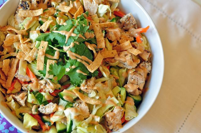 Asian Chicken Salad With Chili Lime And Peanut Dressings Meg S Everyday Indulgence Recipe Asian Chicken Salad Recipe Asian Chicken Salads Salad Side Dishes