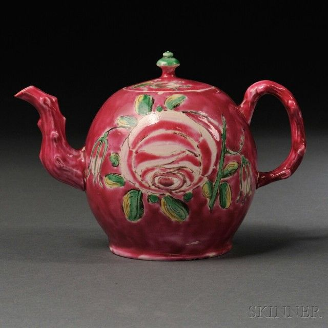 Staffordshire Salt-glazed Stoneware Teapot and Cover, England, c. 1760, globular shape with molded crabstock handle and spout, pink enamel ground and with large pink, green, and yellow flowers to