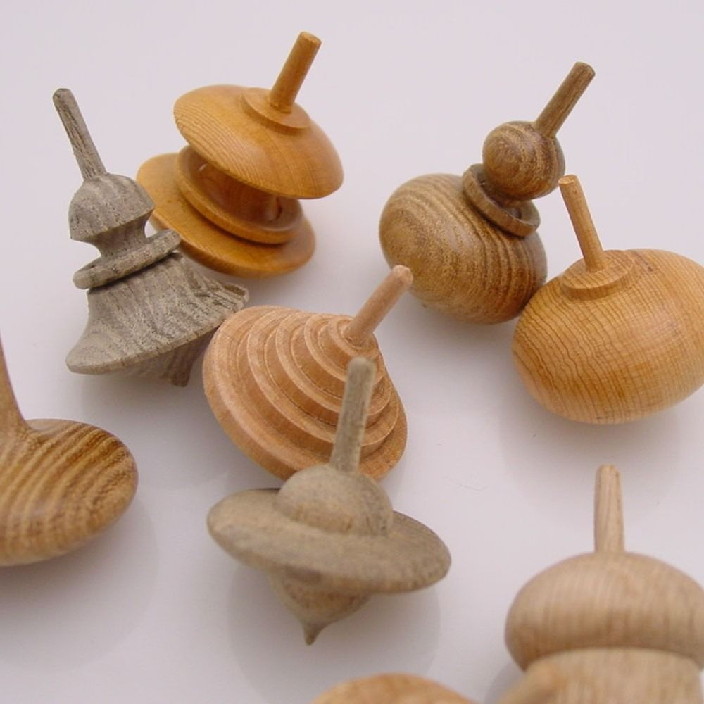 Hand-Turned Wooden Spinning Top, S/3