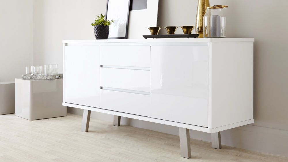Modern White Gloss Sideboard With Soft Close Drawers