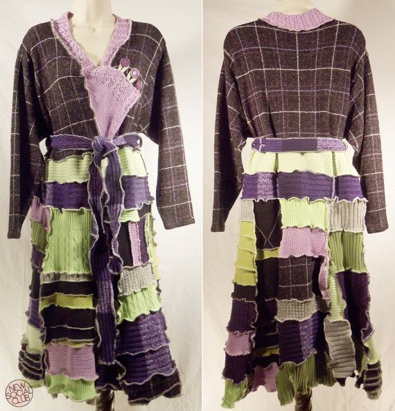DONNA SWEATERCOAT Lavender Lime Pixie Woodland style ooak One of a Kind Upcycled full length sweater coat