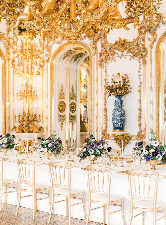 FOR THE RECEPTION || NOVELA BRIDE...Gilded gold ornate dining space ...