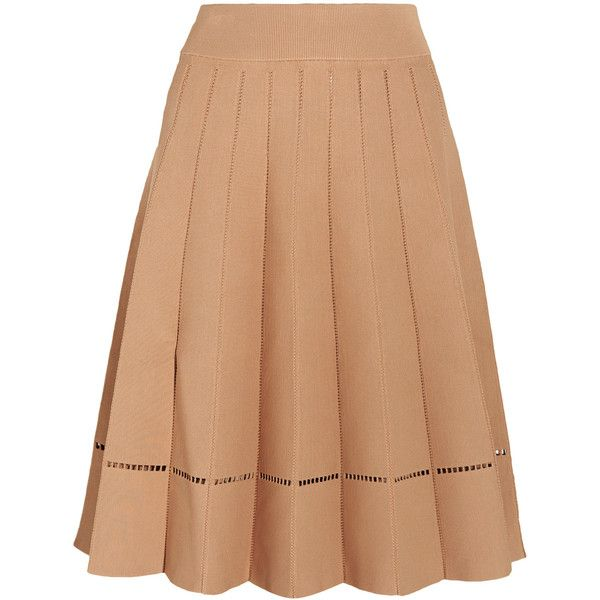 A.L.C. - Nicole Embroidered Stretch-jersey Skirt ($223) ❤ liked on Polyvore  featuring