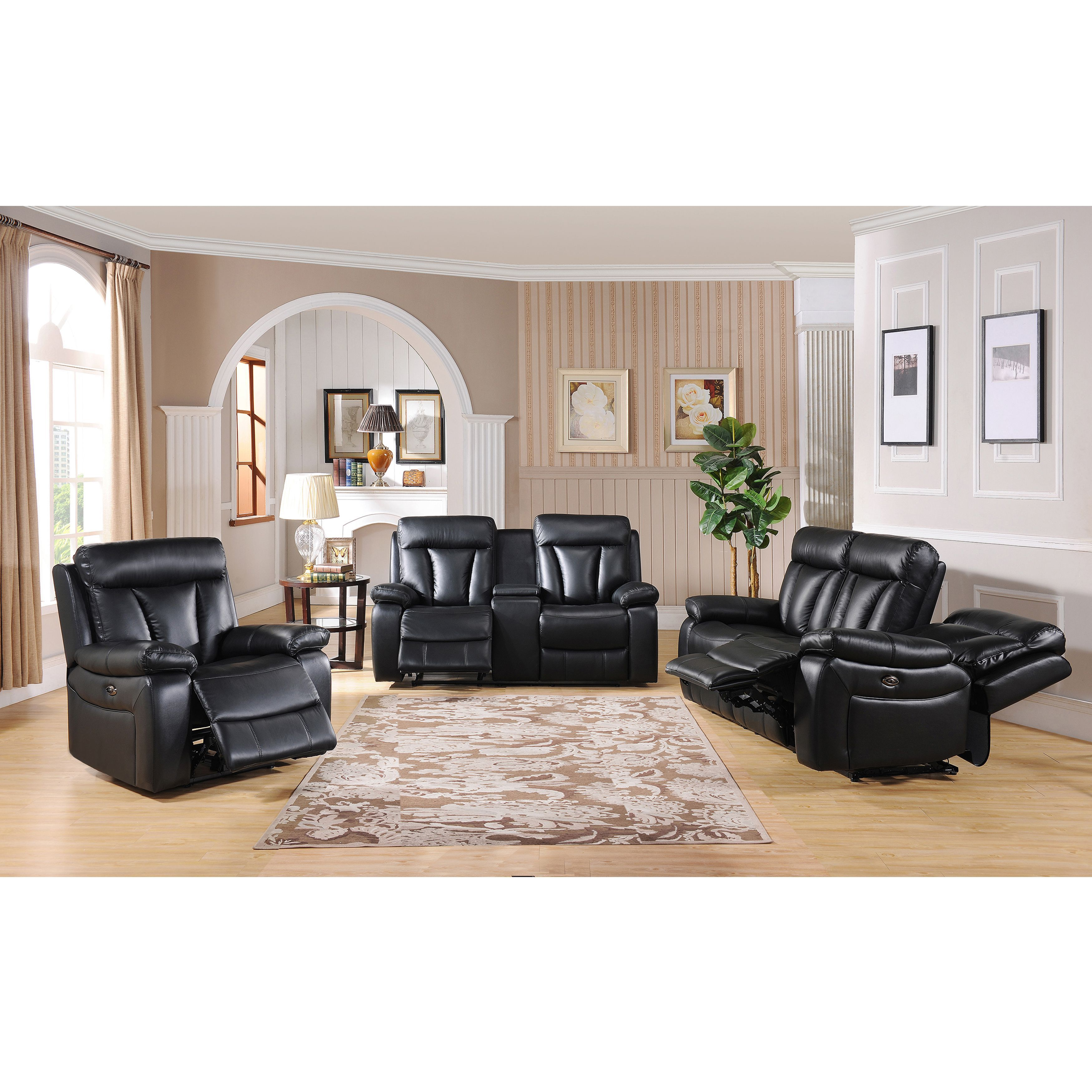 Vedder Black Top Grain Leather Power Motorized Lay flat Reclining