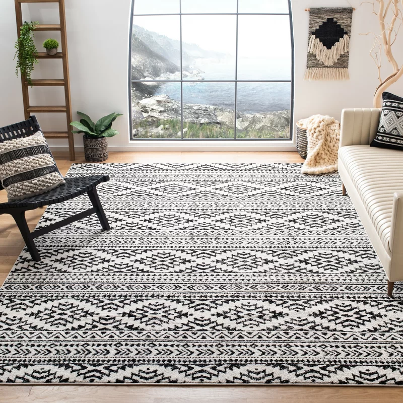 Cobos Polypropylene Black Ivory Rug In 2021 Chic Area Rug Rugs Area Rugs