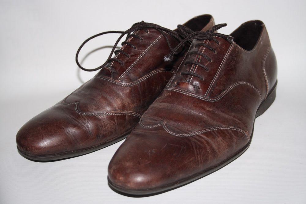 94c483e8808c4 Geox Respira Designer Brown Soft 100% Leather World P.C.T Patent Shoes Size  44EU