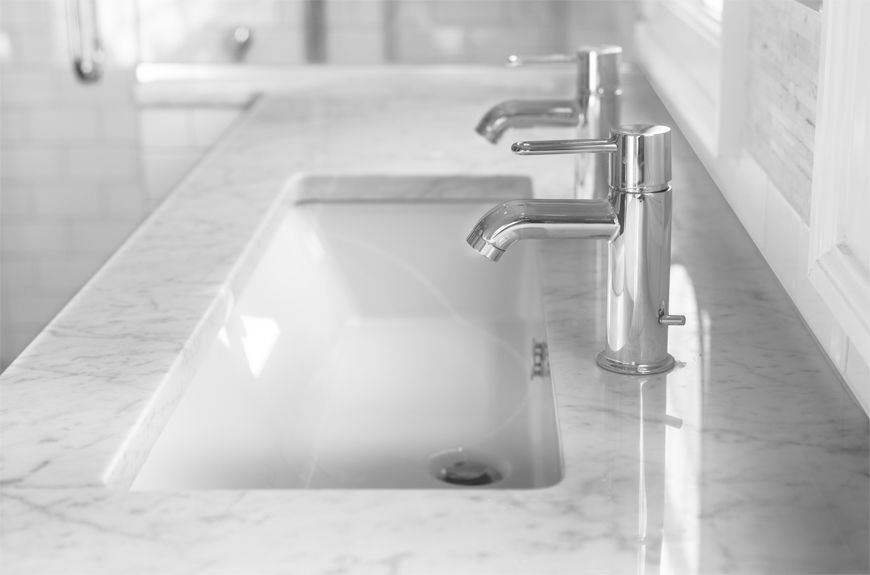 Marble trough sink with double faucets Bathroom Pinterest