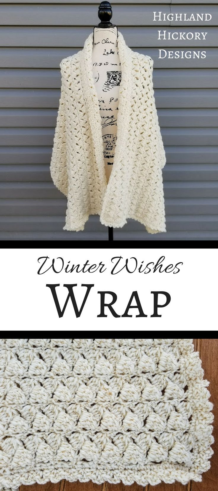 Winter Wishes Wrap | Ponchos, Chal y Capilla
