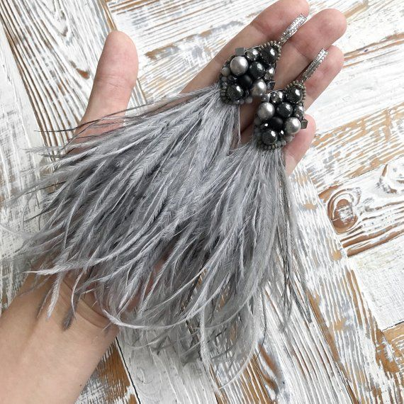 Photo of Grey long natural ostrich feather earrings Luxury beaded jewellery Natural stone jewelry Dangle woman fashion earrings Tassel earrings