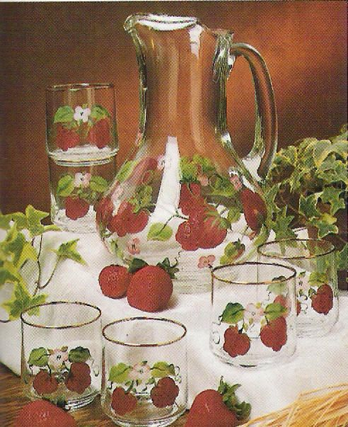 Strawberry Fields Handpainted Glass Set Thornberry Collection Decorations Kitchen
