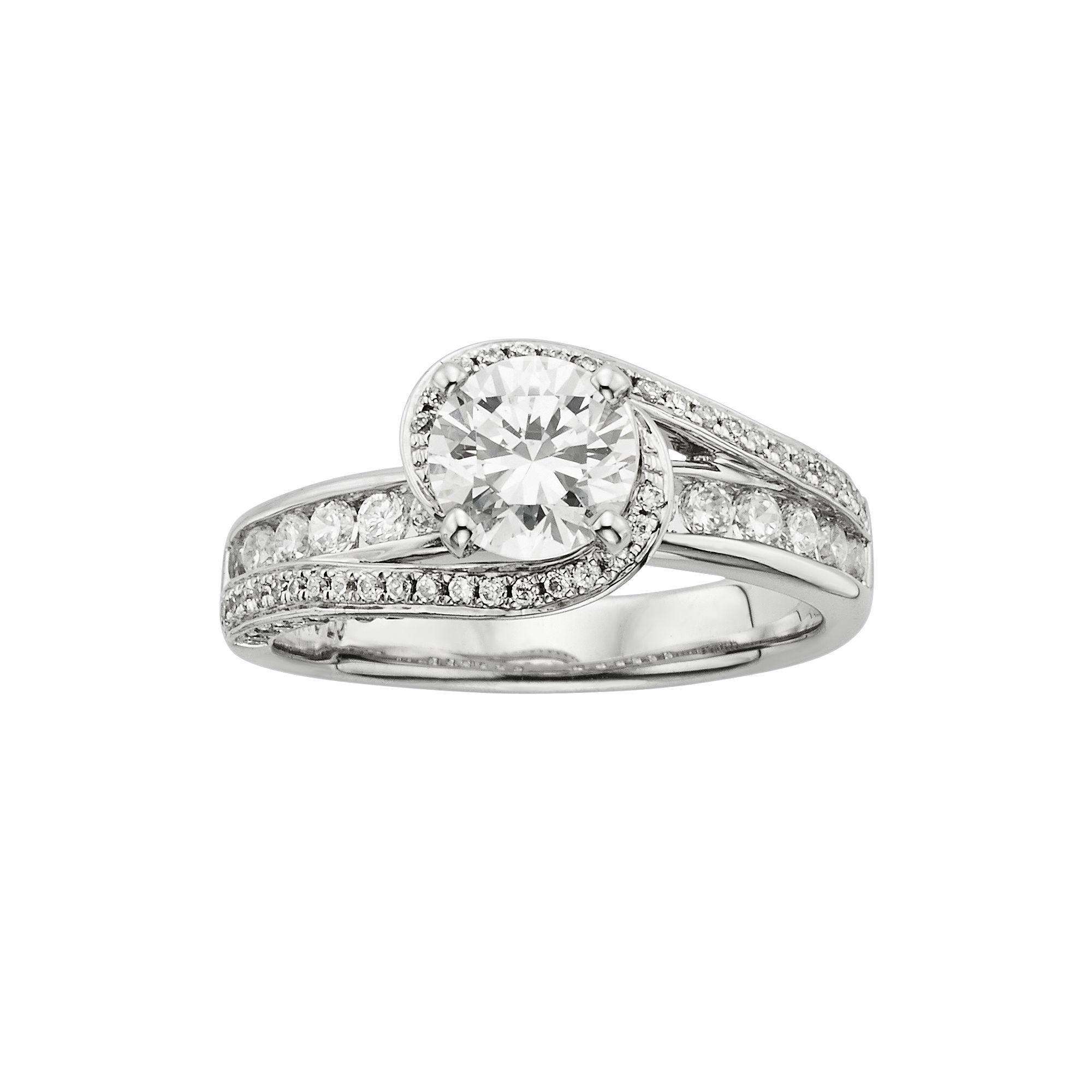 Round Cut IGL Certified Diamond Swirl Engagement Ring in 14k White