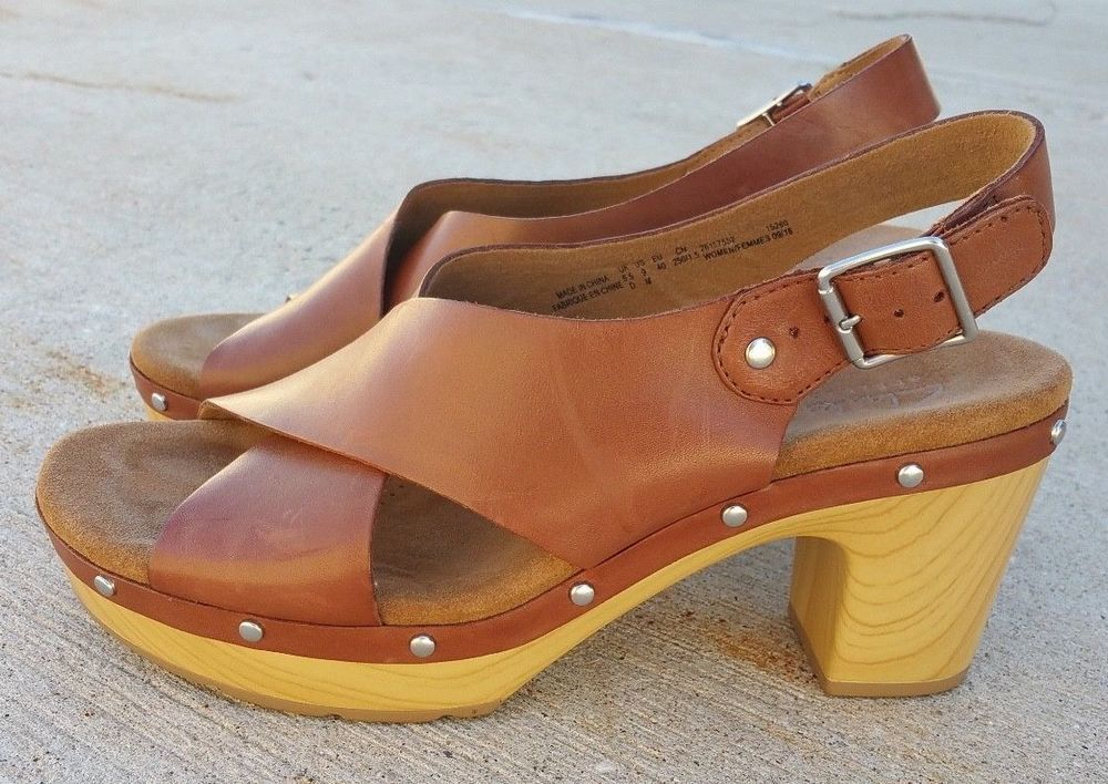 33af8f907c6 CLARKS Size 9 Leather Slingback Clog Studded Platform Sandal Brown Ledella  Club  Clarks  Clogs