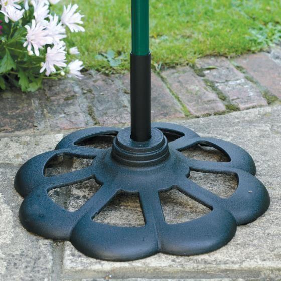 Patio base for bird feeder poles