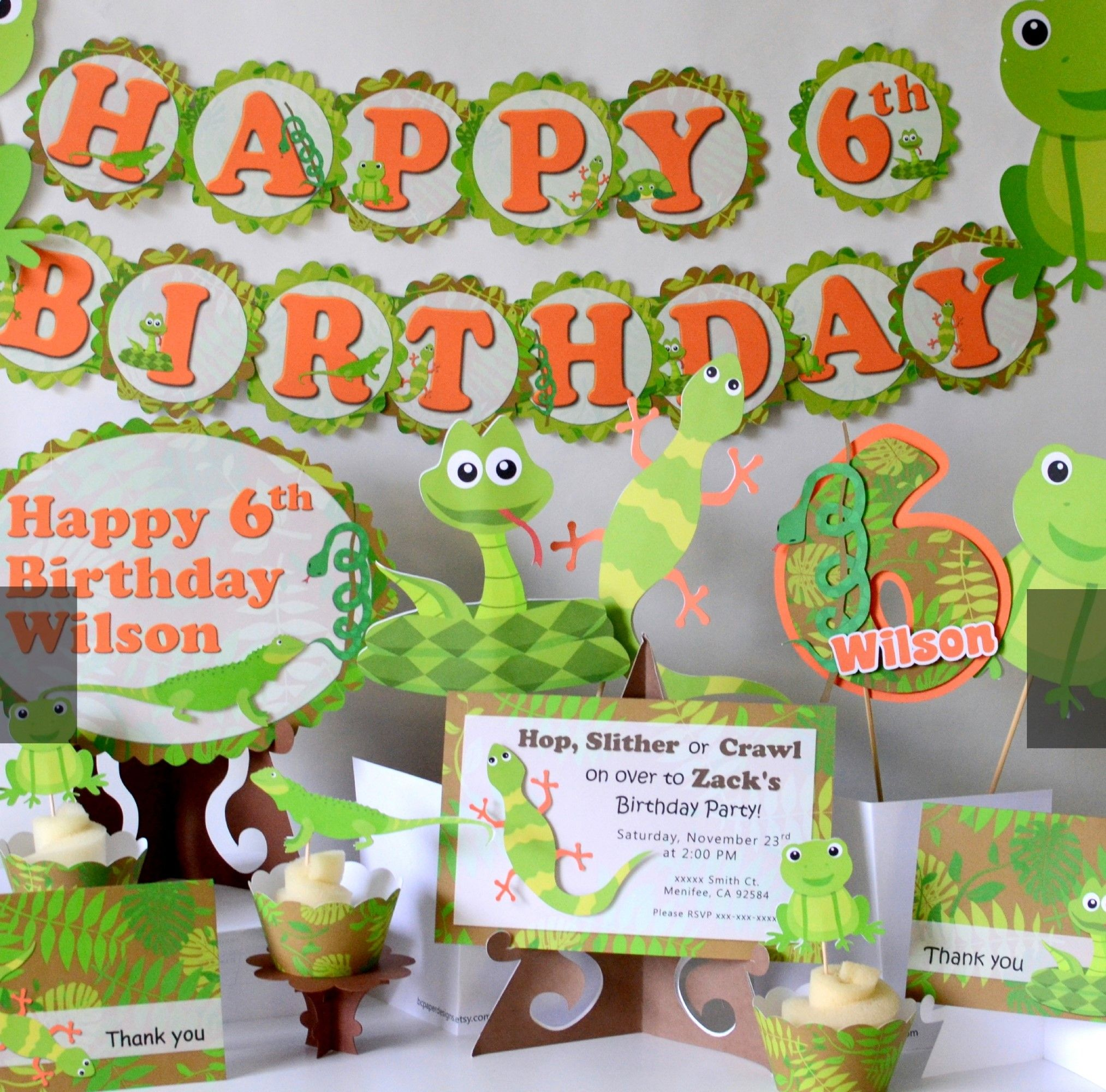 Reptile Party Birthday Decorations - Snake, Lizard, Frog ...
