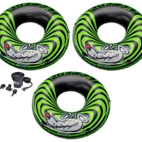Intex River Rat Inflatable Floating Tube Raft Set Of 3 And Quick