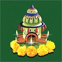 Illustration Of DivineTemple With Lamp And Flower