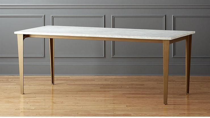 White Carrara Marble Rectangular Brass Legs Dining Table Dining