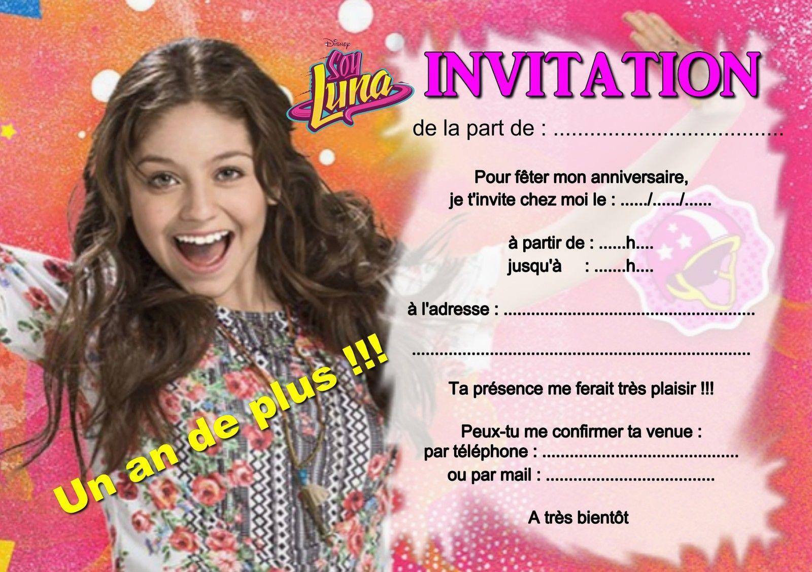 5 ou 12 cartes invitation anniversaire soy luna ref 363 - Carte violetta a imprimer ...