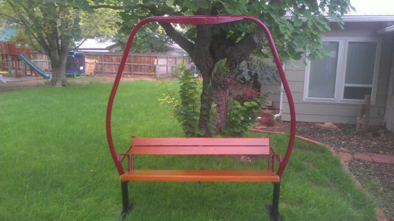 butte colorado triple ski chair lift bench nice vintage and ski