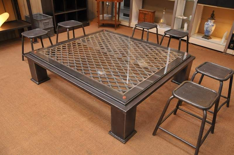 French Vintage Industrial Coffee Table With Diamond Grate Top Sold Vintage Industrial