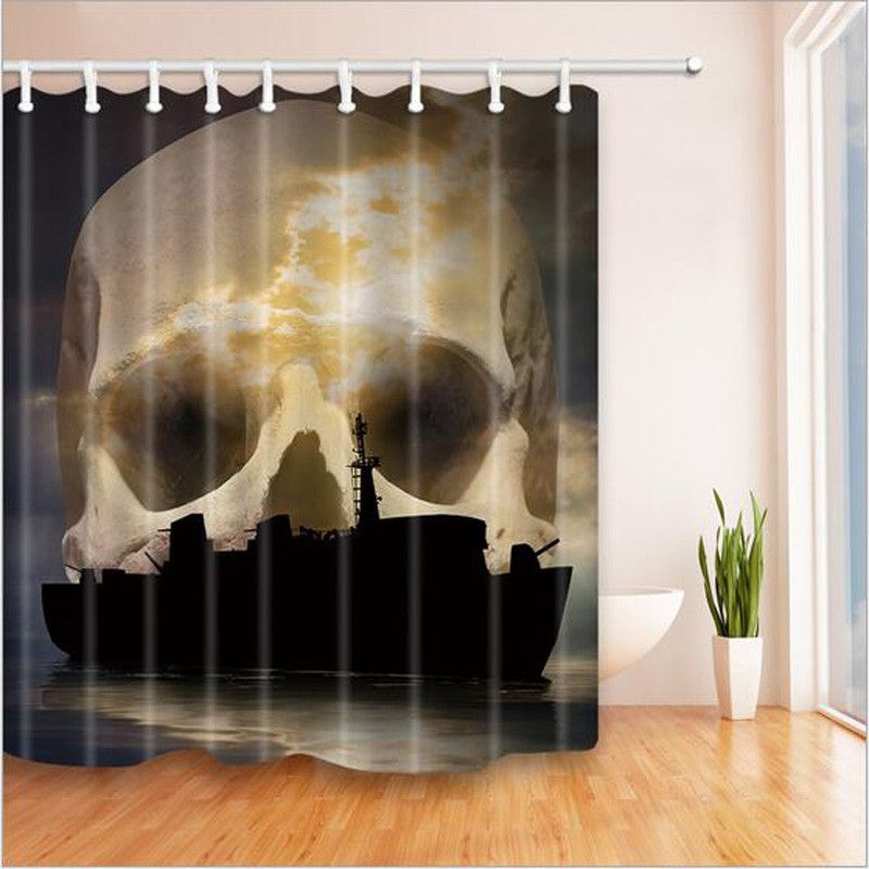 Skeleton Polyester Fabric Shower Curtain Skull Bathroom Decor Creepy Waterproof Bath Curtains With 12 Plastic Hooks