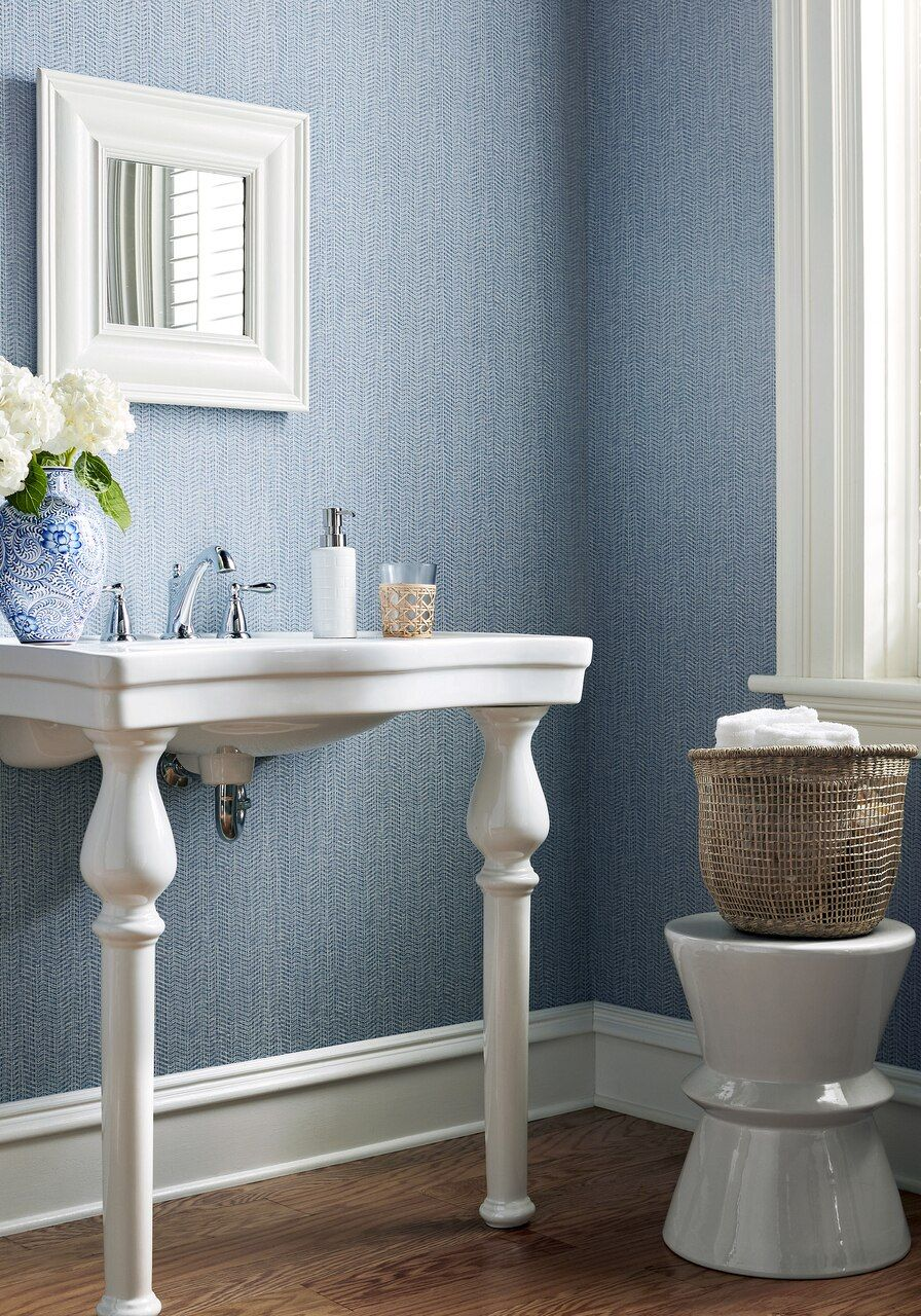 Connell herringbone blue in 2020 Dining room wallpaper