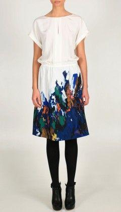 painted white linen dress